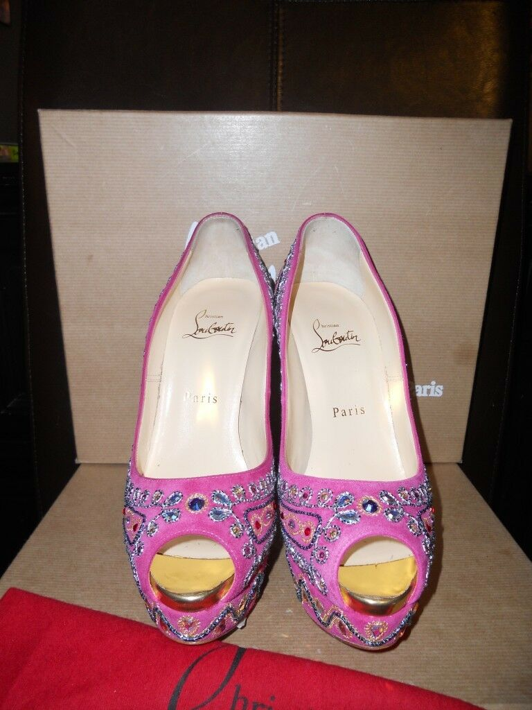 Christian Louboutin bollywoody Jewel Embelli Plateforme Pompe Chaussures Talons 2795 2795 2795   8f2d1b
