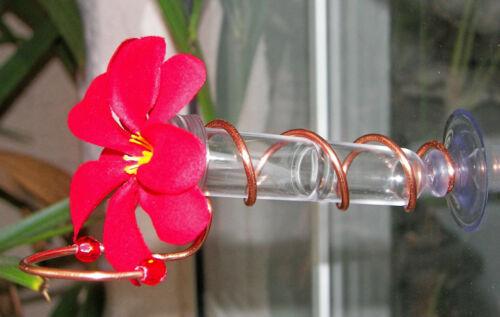 cuivre Window Mount Hummingbird Feeder Fabriqué à la main réaliste Plumeria Flower