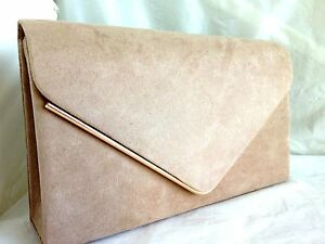 Image Is Loading New Beige Faux Suede Evening Day Clutch