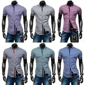 BOLF 4510 Herren Hemd Kurzarm Polo Shirt Slim Fit Kariert Freizeithemd 2B2  Wear 18327efc21