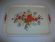 """Vintage Metal Serving Tray with Roses Flowers Floral Design 17 1/2"""" by 12 3/4"""""""