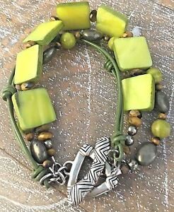 Silpada-Sterling-Silver-Green-Mother-of-Pearl-Tiger-039-s-Eye-Pyrite-Bracelet-B1132