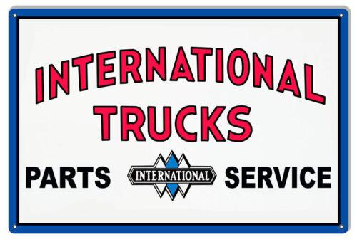 VINTAGE ANTIQUE Style Metal Sign International Trucks Parts 16x24