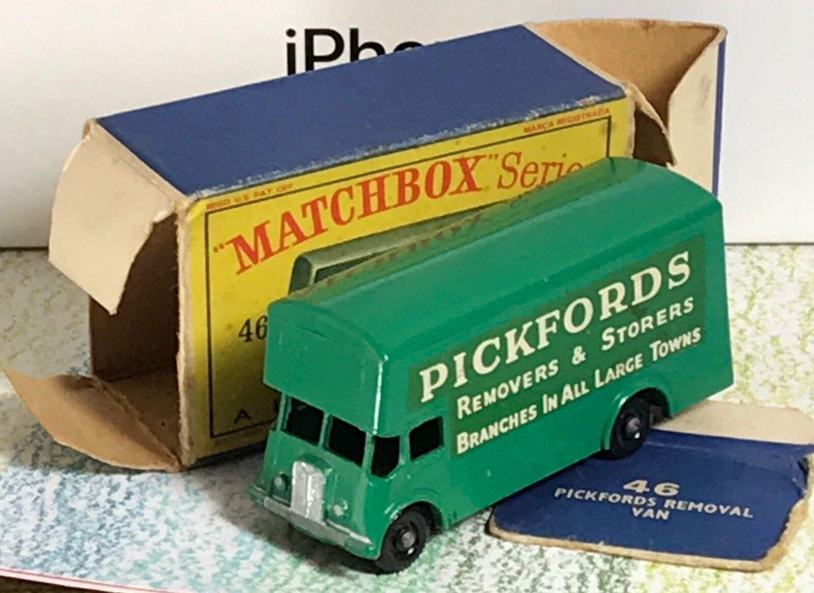 Matchbox Lesney b verde tipo eliminaciones piezas fundidas 2 Van Pickfords Menta en caja