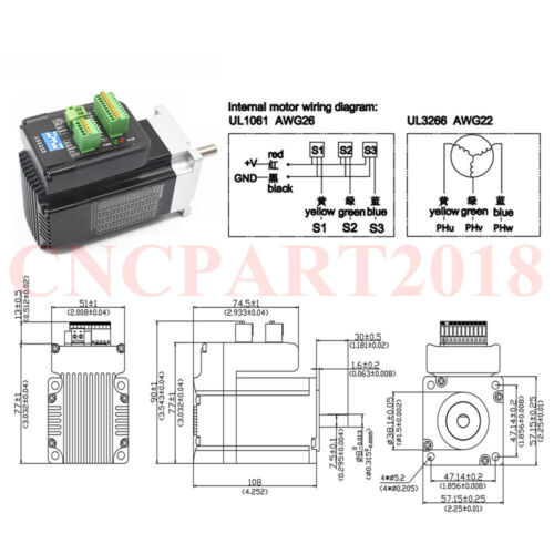 100W 140W 180W DC Brushless Servo Motor Integrated Driver Kit 20~50V 8mm Shaft
