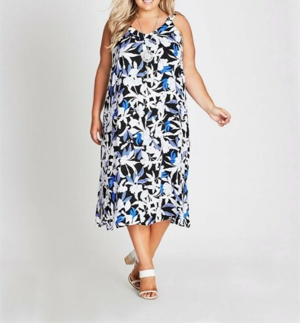 Plus Size Autograph Floral Black-White-Blue Viscose Midi Dress Size 16 free Post