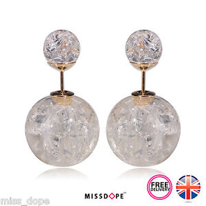 Image Is Loading New White Double Pearl Frost Bauble Stud Earrings