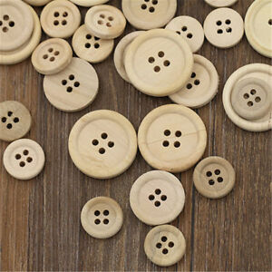 50-Mixed-Wooden-Buttons-Natural-Color-Round-4-Holes-Sewing-Scrapbooking-DIY