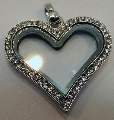 cz living glass floating locket elegant heart necklace SILVER, add charms, beads