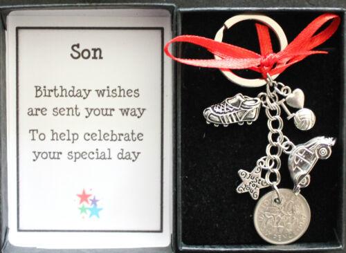 Fils sixpence porte-clés cadeau fan de football coffret souvenir anniversaire