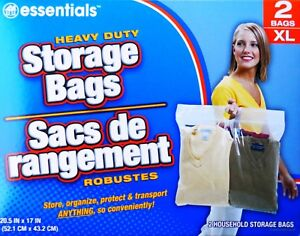 Details About Extra Large Plastic Storage Bags With Handles 2 Ct Bo Great For Sports