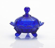 Covered Candy Dish / Berry Bowl - Cobalt Blue Glass - Mosser USA