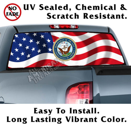 Wavy US Flag Dept of Navy BACK Window Graphic Perforated Film Decal Truck Decal