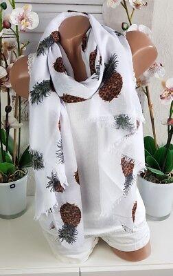 Schal Halstuch Tuch Fransen Ananas Pineapple weiß Loop Sommer Spring XXL