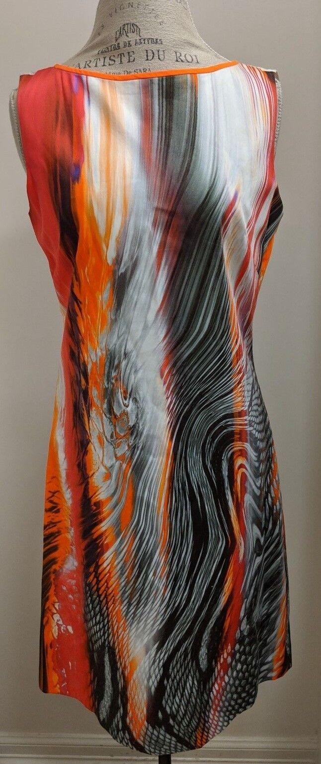 Elie Tahari Sleeveless Cotton Spandex Sheath Dress With Multicolor Abstract Desi