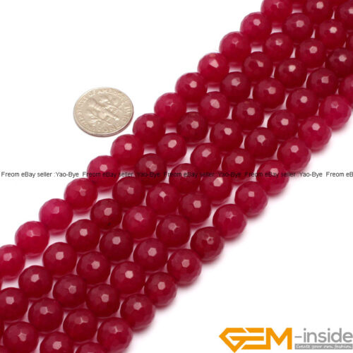 """Plum Jade Gemstone Faceted Round Loose Spacer Beads For Jewelry Making 15/""""Strand"""