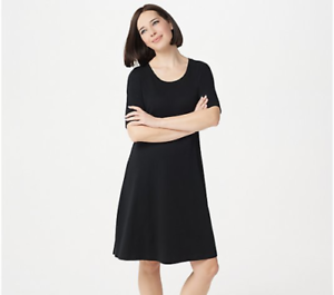 New-ISAAC-MIZRAHI-LIVE-Size-Medium-Black-Elbow-Sleeve-Scoop-Neck-Knee-Dress