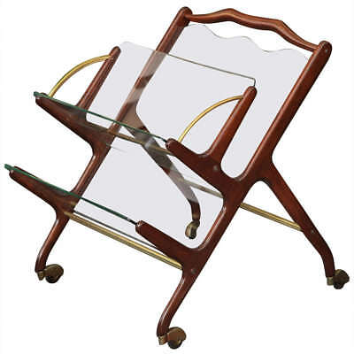 Glass and Walnut Magazine Cart by Cesare Lacca