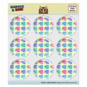 Cute-Kawaii-Baby-Elephants-Pattern-Puffy-Bubble-Scrapbooking-Sticker-Set