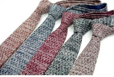 High Quality Men Knit Knitted Flat Slim Narrow Rare Mixed Snow Solid Tie Necktie