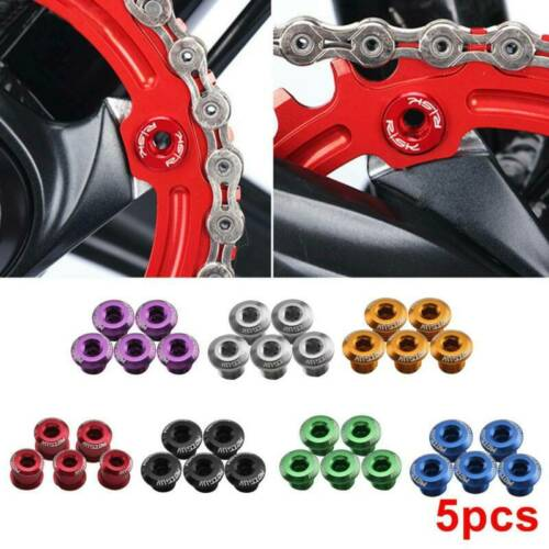 5pcs MOTSUV Aluminum Alloy Bicycle Chainset Bolts Single Chainring  Nails AU