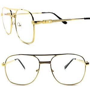 NERD Gold Metal Chain Vintage Hip Hop Mens Frame Clear Lens Eye Glasses BLACK