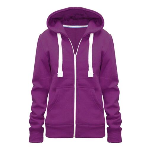 Ladies Womans Plus Size Plain Zipped Sweatshirt Hooded Jacket 2XL-5XL