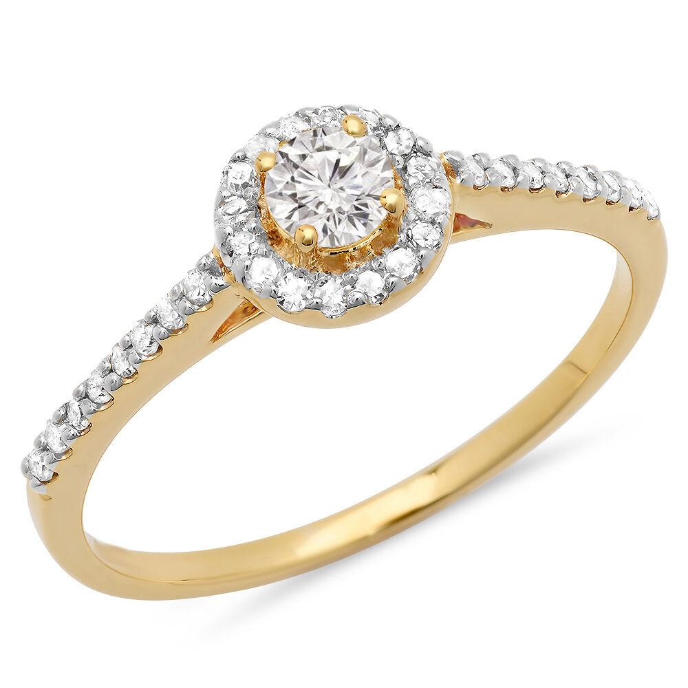 0.40 Carat 14K Yellow gold Diamond Ladies Engagement Bridal Halo Ring (Size 6)