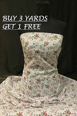 Floral Flowers White Maroon Cotton print dress-making craft fabric material
