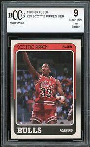 1988-89 Fleer #20 Scottie Pippen Rookie Card BGS BCCG 9 Near Mint+