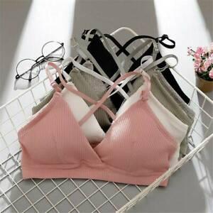 Women-039-s-Pink-Strappy-Bralette-Push-up-Padded-Bra-Crop-Tops-Underwear-Lingerie