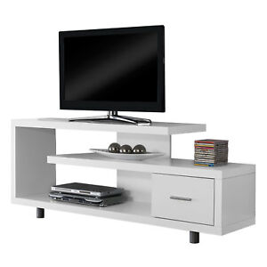 Monarch-Specialties-60-034-Modern-Art-Deco-Entertainment-TV-Stand-w-Drawer-White