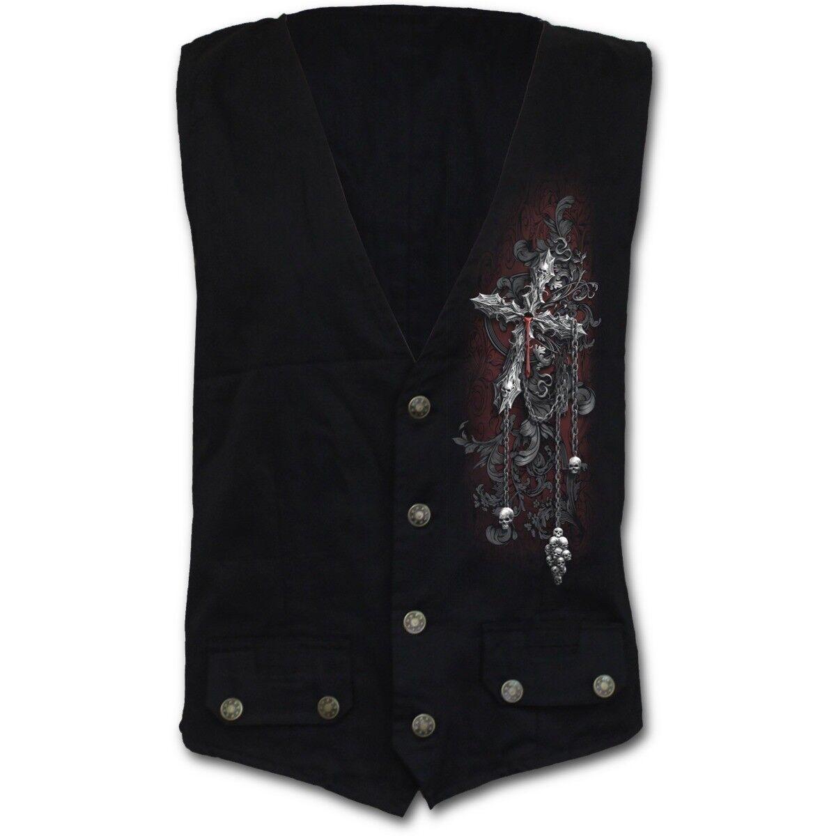 Spiral Direct CROSS OF DARKNESS Gothic Waistcoat Cross Top Tee Skull Biker Metal