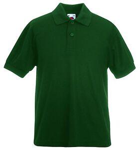 Fruit of the loom plain forest bottle green polo shirt ebay for Forest green polo shirts