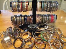 Huge Lot Of  200 Vintage-Now Costume Jewelry Bangle Cuff Bracelets wear  resell