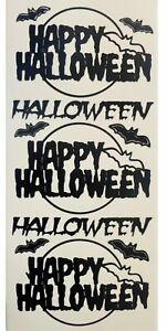 BLACK HAPPY HALLOWEEN Peel Off Stickers Bats Card Making Invitations