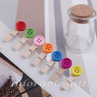 35x Button Colourful Mixed 3.5cm Mini Wooden Pegs Clips Party Favour Baby Shower