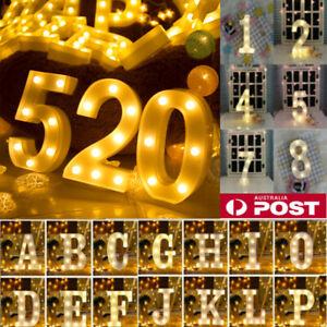 LED Number//Alphabet Letters Lights Light Up Metal Standing Hanging Marquee Decor