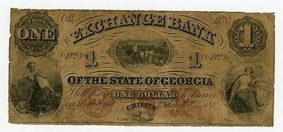 1857 $1 The Exchange Bank of the State of GEORGIA - Griffin - w/ SLAVES