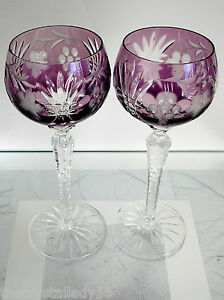 Ajka European Style Cranberry Cased Cut To Clear Crystal Wine Goblet Set Of 2 High Safety Other Bohemian/czech Art Glass