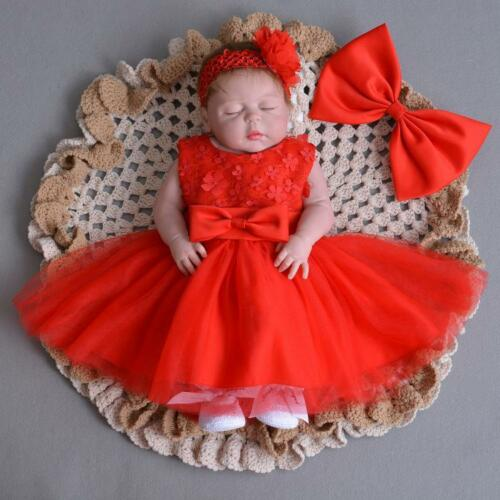 Red Adorable Lace Baptism Dress Newborn Baby Girl Sleeveless Christening Gown