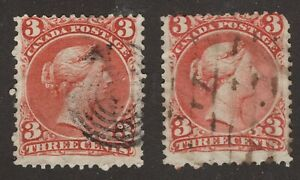 CANADA-25-3c-X-2-LARGE-QUEEN-ISSUES-1868-VG-F