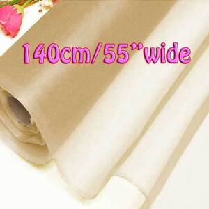 2 Yards Beige Pure Silk Organza Bridal Dress Fabric 140cm Sheer Tulle Voile