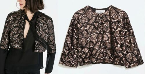 Zara Chaqueta cuentas 40 Gold chaqueta reluciente L Pailletten Bluse Tamaño con Jacke Joyería de I8IOHndrx