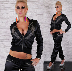 Hot-amp-Sexy-Satin-Trainingsanzug-Bestickt-Von-Wahlwiederholung-Groesse-8-10-12