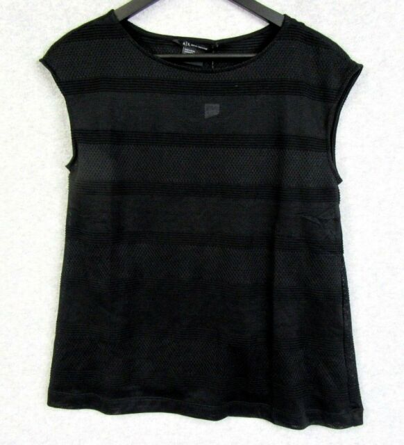 4cc627a140607 A X Armani Exchange Sheer Layered Mesh Boatneck Top Shell Small S P Black