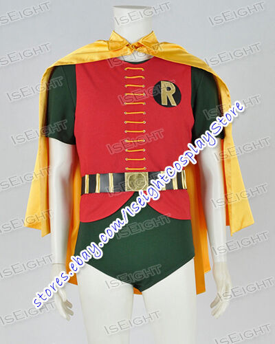 1966 Classic Cosplay Robin Burt Ward Costume Jumpsuit Men Cape In Stock