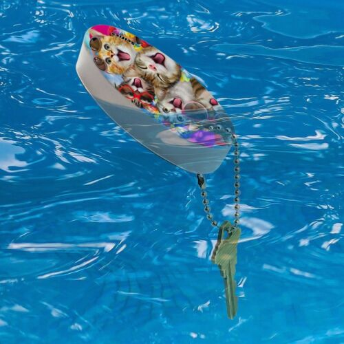 Cats Hawaiian Luau Party Selfie Floating Foam Keychain Fishing Boat Buoy
