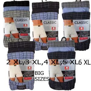 3,6,9,12  Pairs BIG SIZES Men Button Fly CLASSIC SPORT Boxer 2XL,3XL,4XL,5XL,6XL