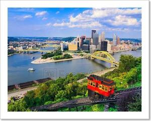 Pittsburgh Home Decor Pittsburgh Pennsylvania Skyline Poster Art Print